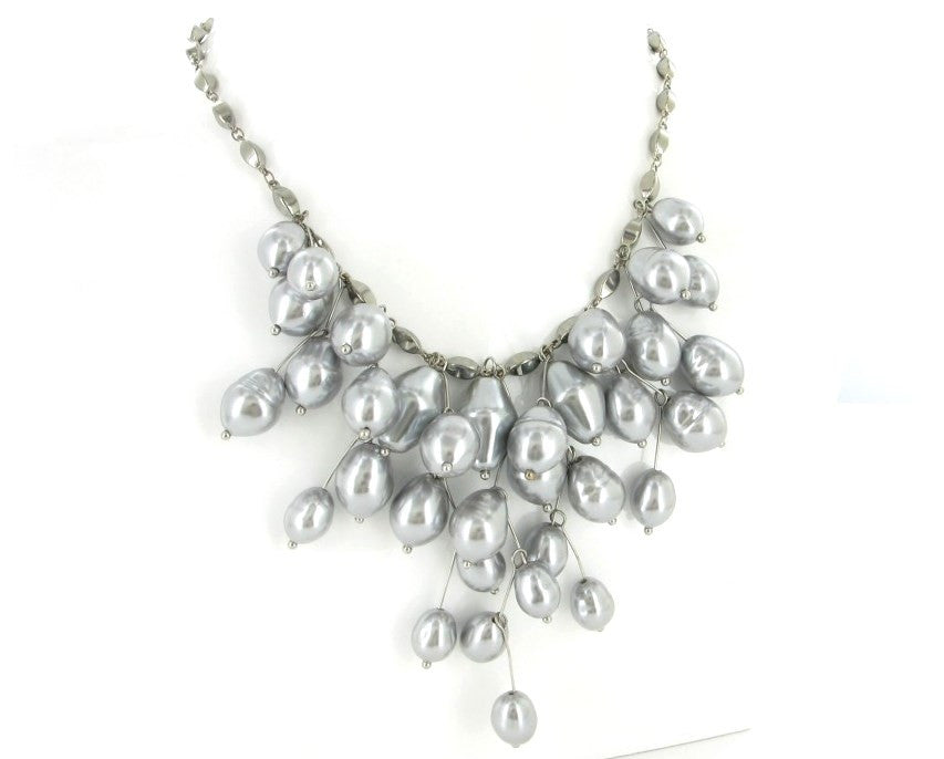 SILVER GREY PEARL NECKLACE