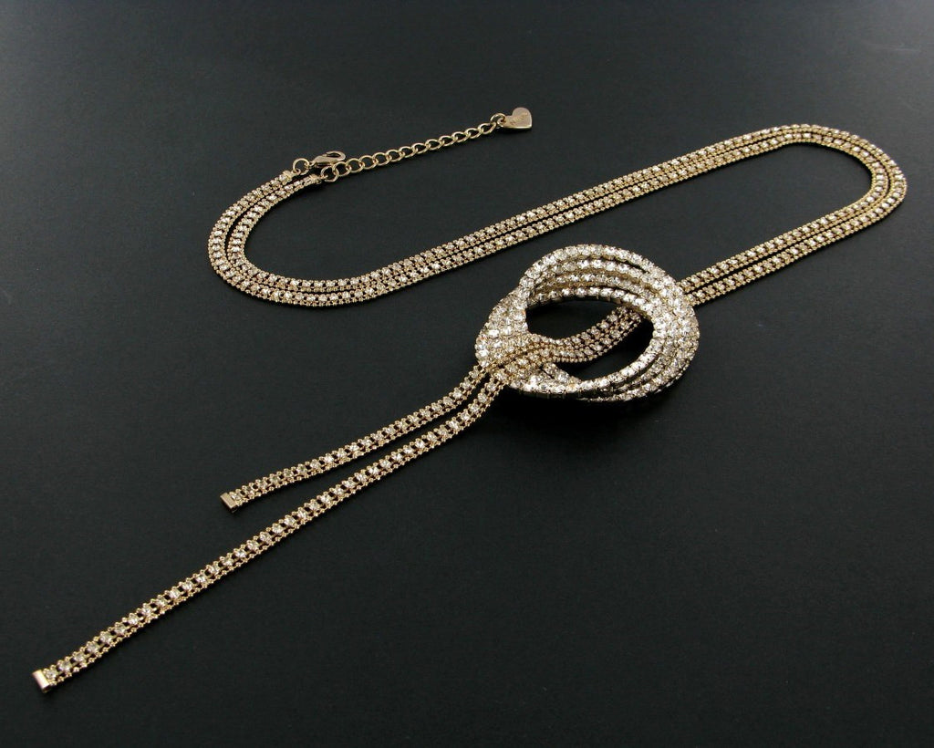 GOLD LONG CRYSTAL NECKLACE