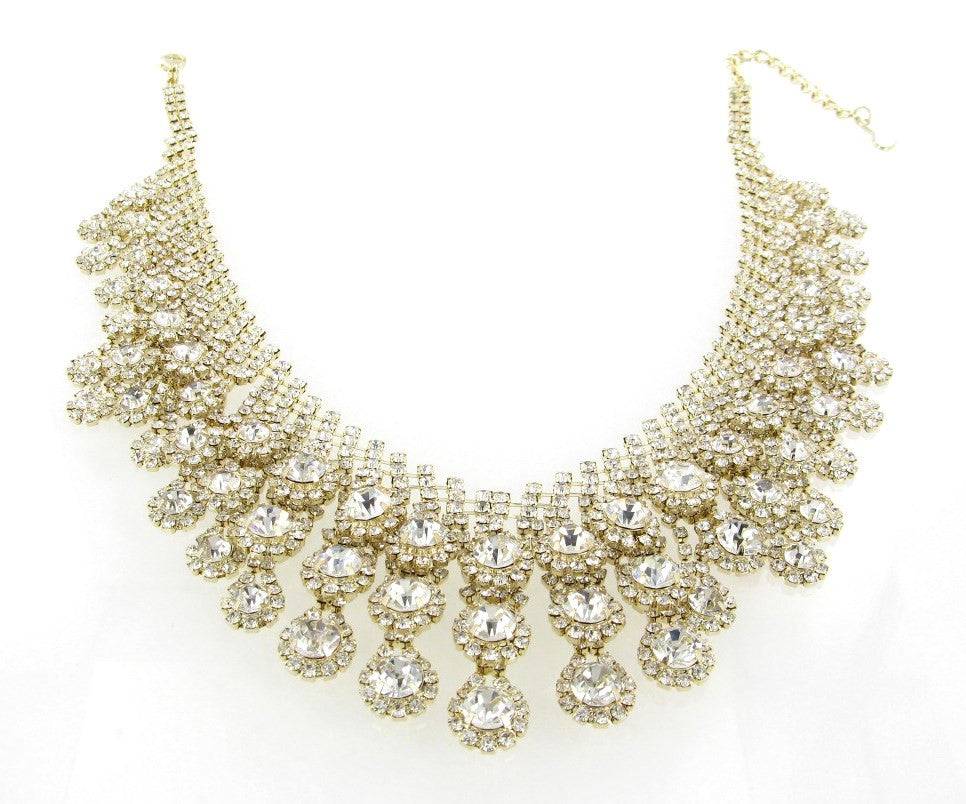 CLEAR CRYSTALS GOLD NECKLACE