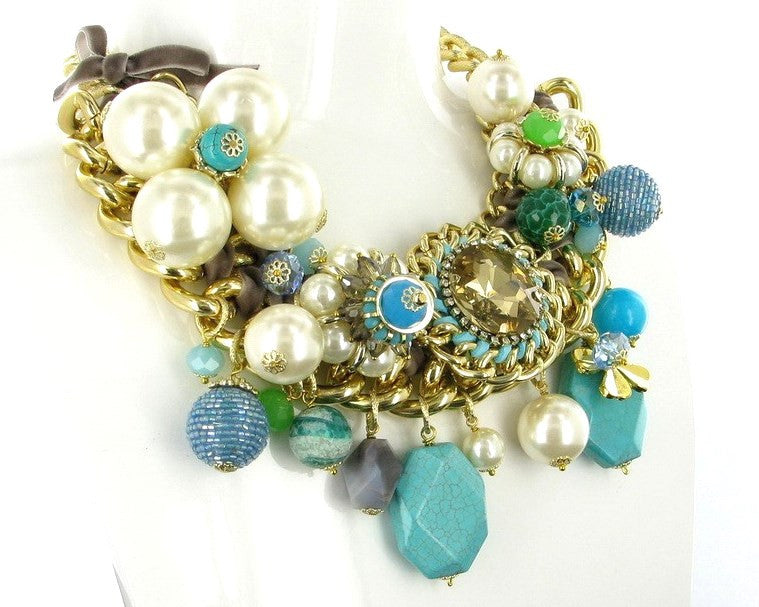 BLUE AND PEARL CHUNKY CHAIN NECKLACE