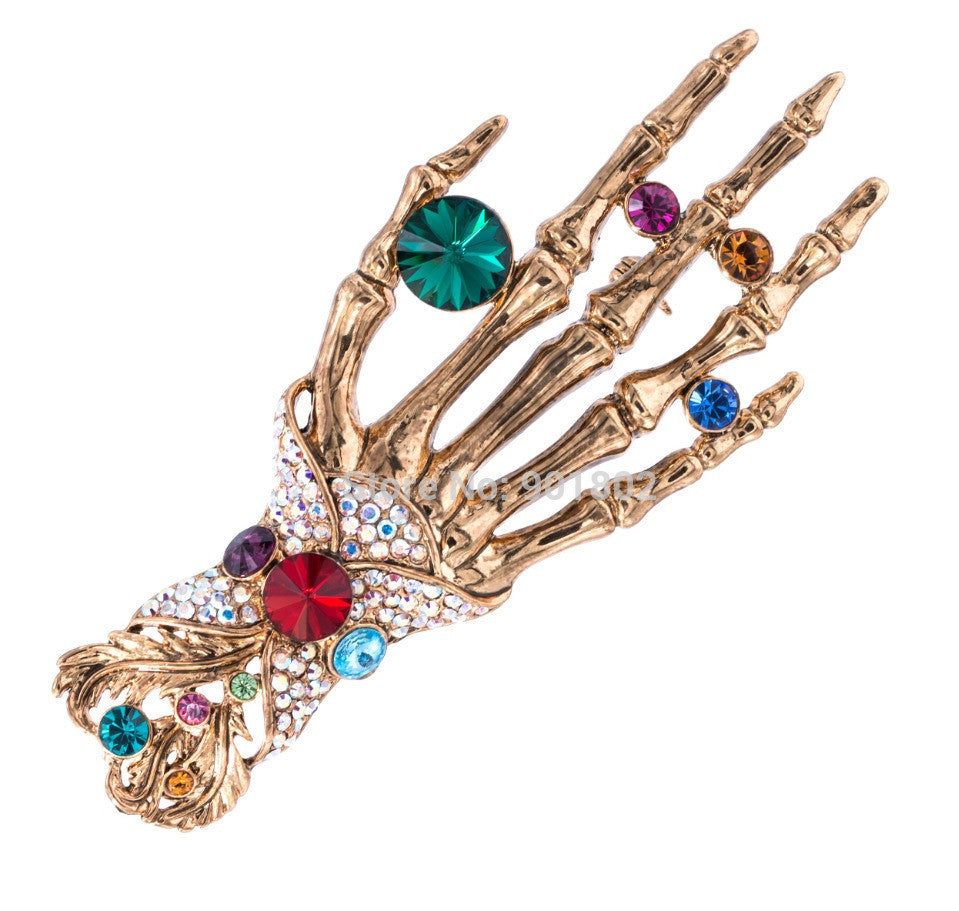 HAND SKELETON SKULL MULTICOLOUR BROOCH