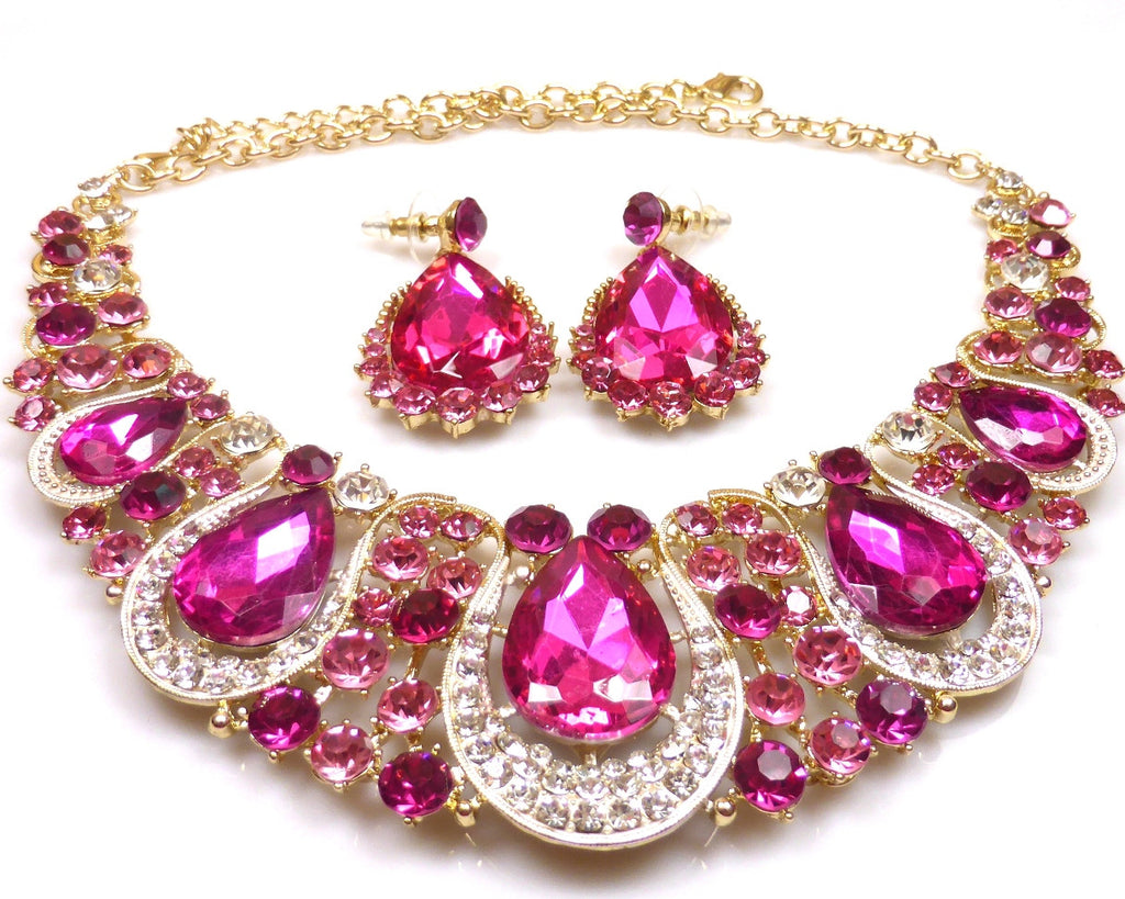 PINK CRYSTAL NECKLACE & EARRINGS