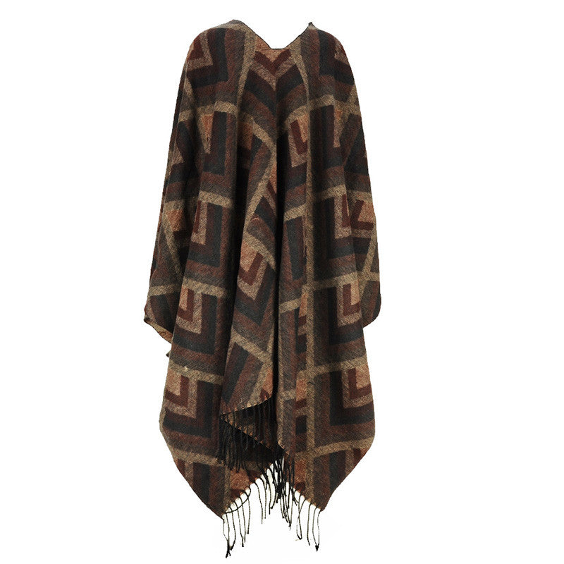Coffee - Plaid Scarf Shawl with Tassel