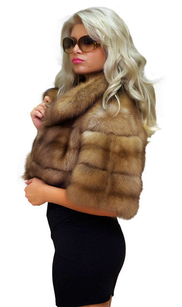 Pearl mink fur coat with marten trim
