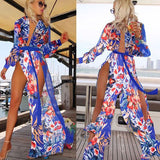 Chiffon Swimwear Cover Up, Flower Long Beach Dress
