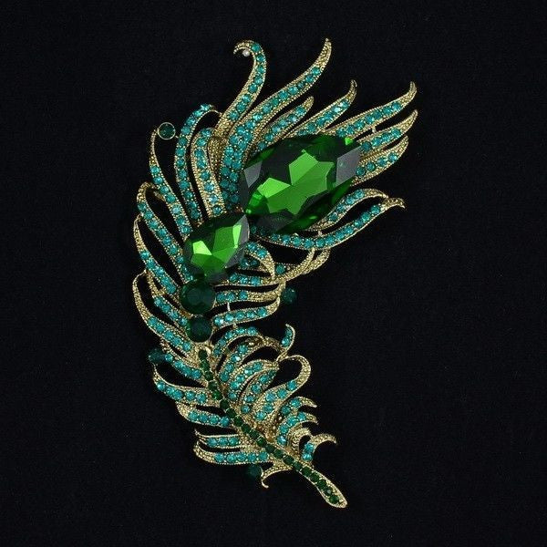 RHINESTONE GREEN PEACOCK FEATHER BROOCH