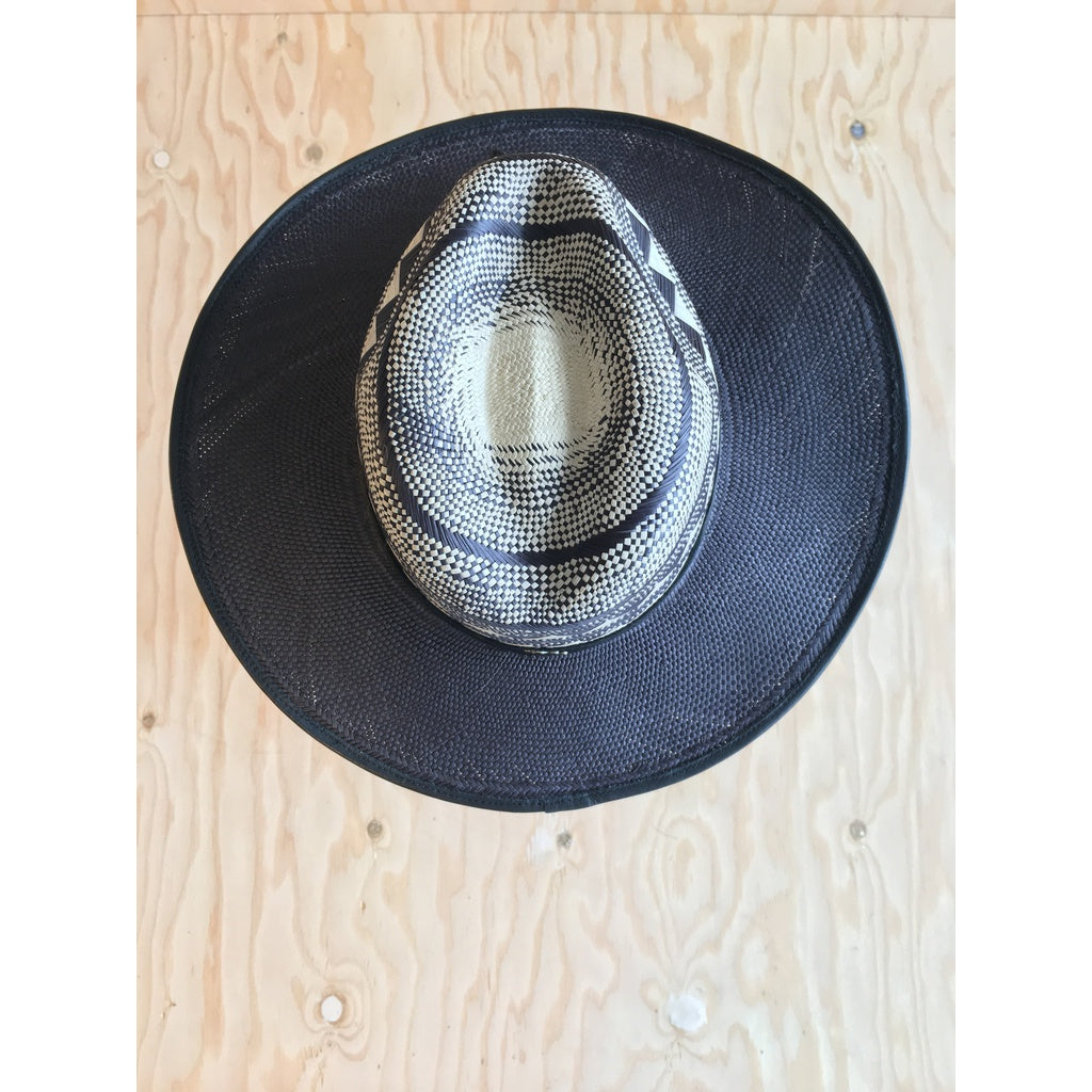 Accordion Black Brim Panama Hat