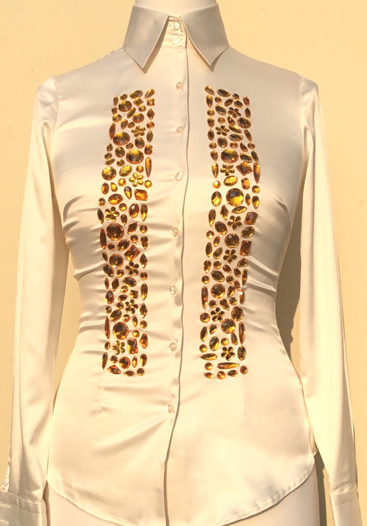 EMBROIDERED CREAM SLIM FITTED SATIN SHIRT - DOUBLE CUFF