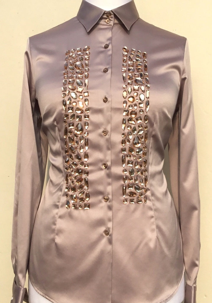 EMBROIDERED TAUPE SATIN SHIRT - DOUBLE CUFF
