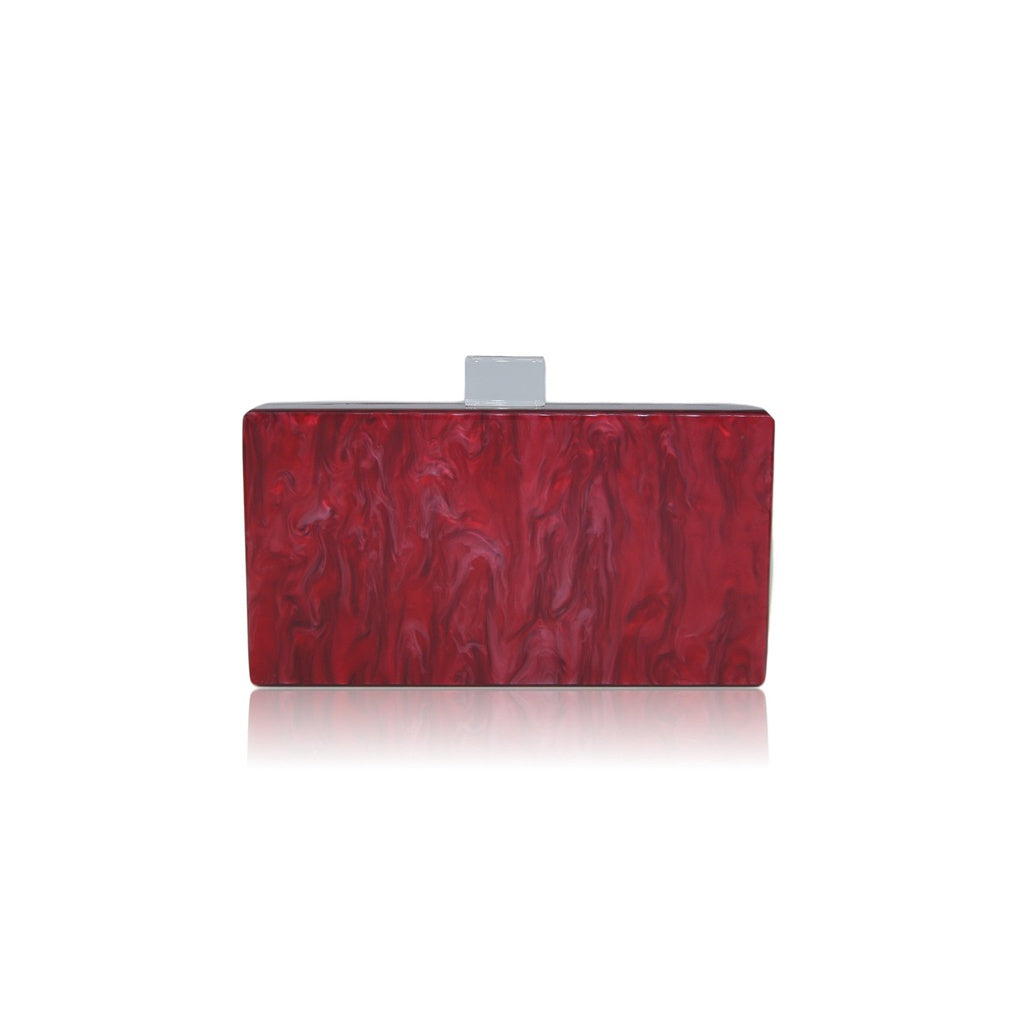 Baroque Burgundy Diamond Lucite Clutch