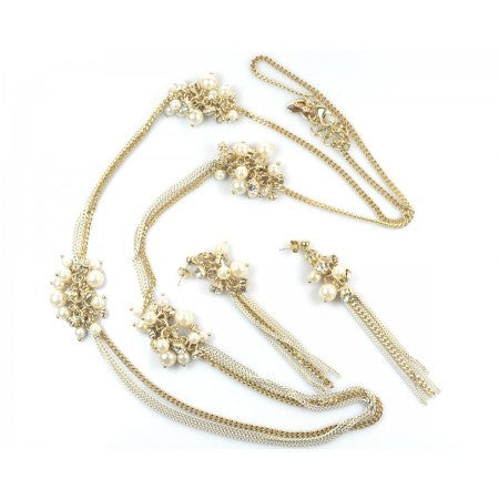GOLD PEARL NECKLACE & EARRINGS