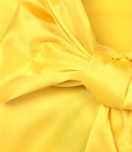 YELLOW SLIM FITTED SATIN - PUSSY BOW