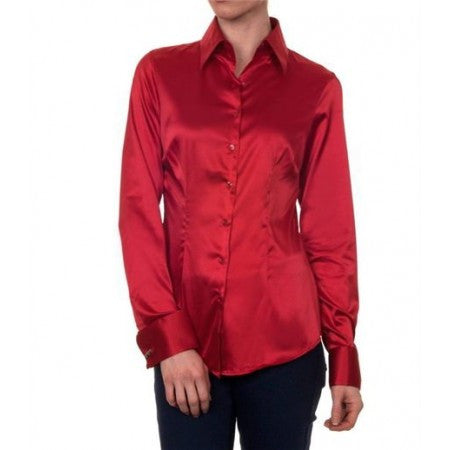 LUXURY RED SATIN SHIRT, DOUBLE CUFF