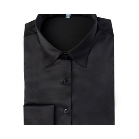 PLAIN BLACK FITTED SATIN SHIRT - DOUBLE CUFF