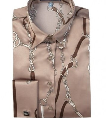 TAUPE & BROWN FINSBURY CHAINS SHIRT