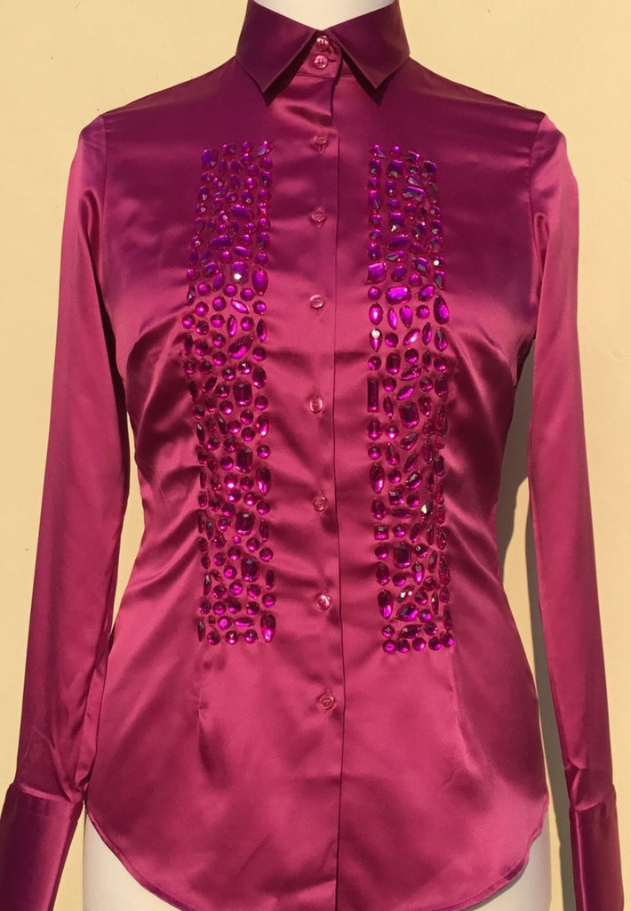 EMBROIDERED MAGENTA SLIM FITTED SATIN SHIRT - SINGLE CUFF