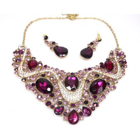 CHERRY RHINESTONE NECKLACE & EARRINGS