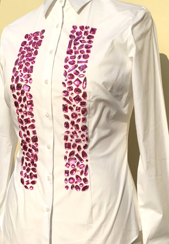 EMBROIDERED WHITE COTTON SHIRT - DOUBLE CUFF
