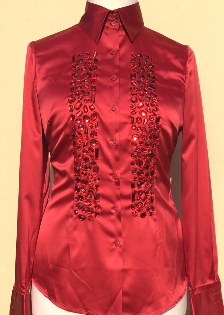 EMBROIDERED RED SATIN SHIRT - DOUBLE CUFF