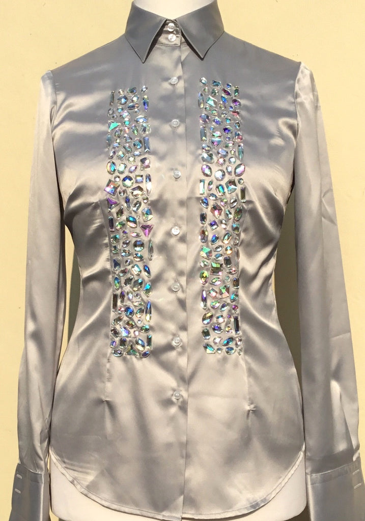 EMBROIDERED SILVER SATIN SHIRT - DOUBLE CUFF