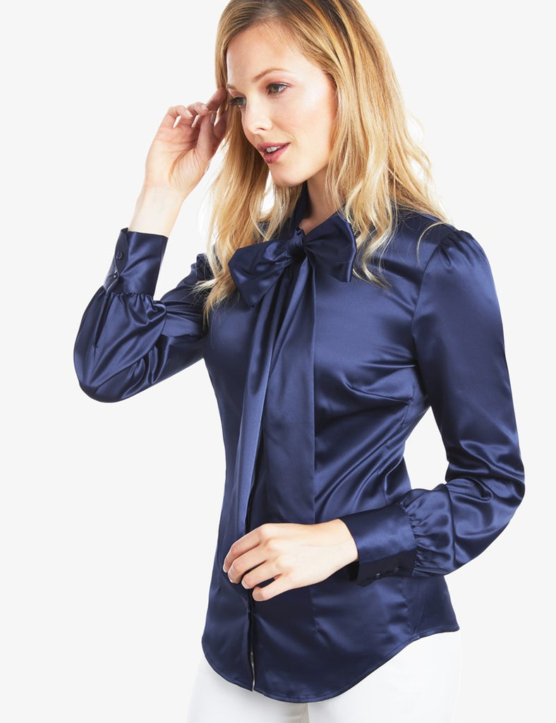 NAVY FITTED LUXURY SATIN BLOUSE - PUSSY BOW