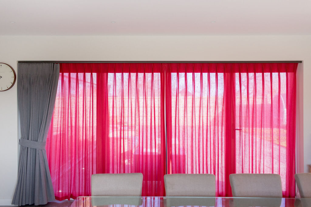 pink voile curtains