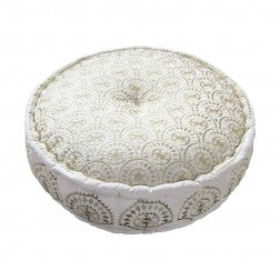 Casablanca Embroidered Gold Metallic Pouff - Applemoon Interiors