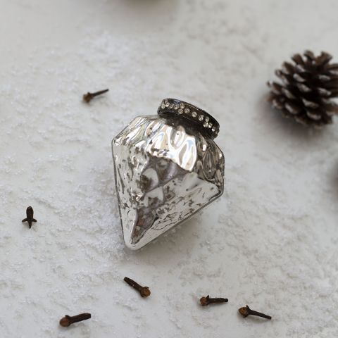 3 inch diamond silver bauble - Applemoon Interiors