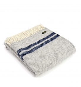 Lifestyle Fishbone 2 Stripe Throw - Grey & Navy - Applemoon Interiors
