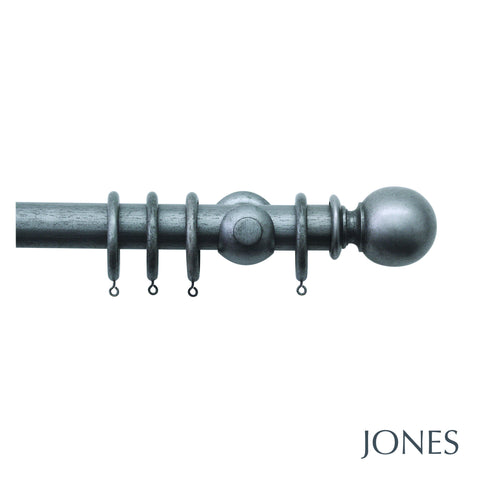 hardwick poles - ribbed ball finials - 40mm
