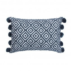 Kabuki Diamonds Cushion with Pompoms / Grey & White - Applemoon Interiors