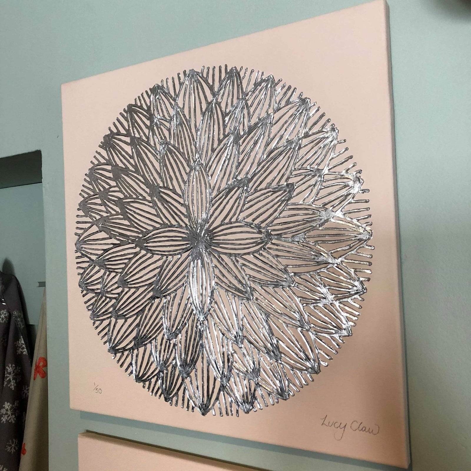 Canvas wall art pink local artist lucy claw applemoon interiors