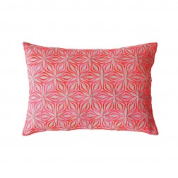 Martha Geometric Cushions Rectangular on Linen / Neon Coral - Applemoon Interiors