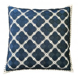 Phulkari Cushion Navy on Linen - Applemoon Interiors