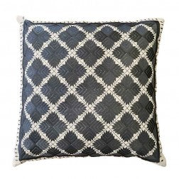 Phulkari Cushion Grey on Linen - Applemoon Interiors