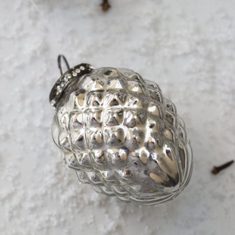 Antique pine cone silver bauble - Applemoon Interiors