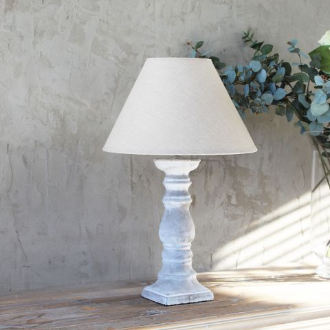 Cement Candlestick Lamp Base & Shade Se - Applemoon Interiors