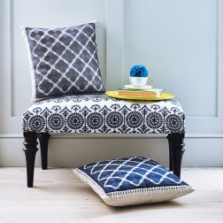 Safi Embroidered Upholstered Bench Navy on Linen - Applemoon Interiors