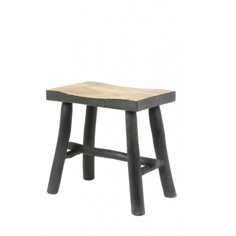 Ties Stool Wood Black - Applemoon Interiors