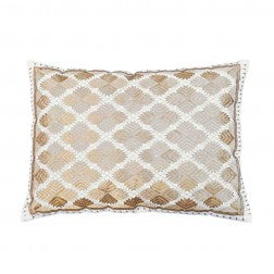 Phulkari Diamond Cushions Gold Metalic - Applemoon Interiors