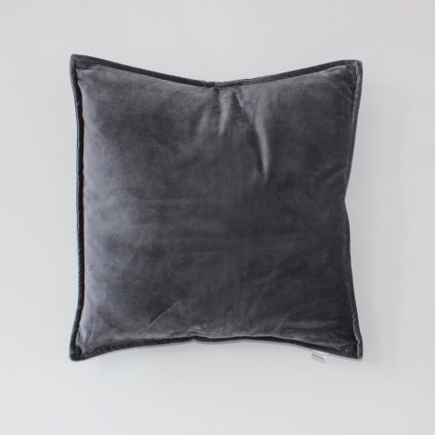 Metallic Grey Velvet Cushion - Applemoon Interiors