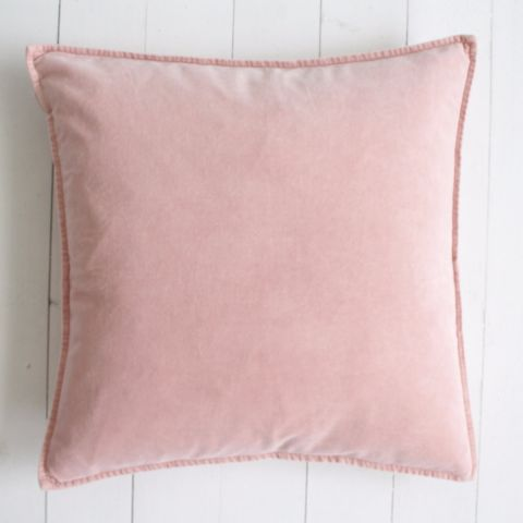 Blush Pink Washed Velvet Cushion