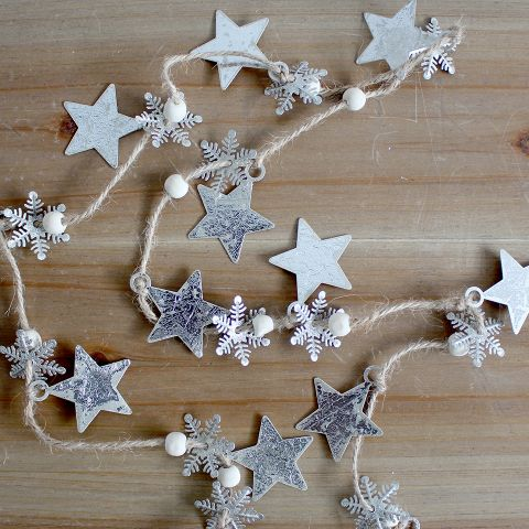 Silver Snowflake and Star String - Applemoon Interiors