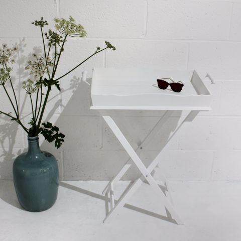 White Beach House Folding Tray Table - Applemoon Interiors