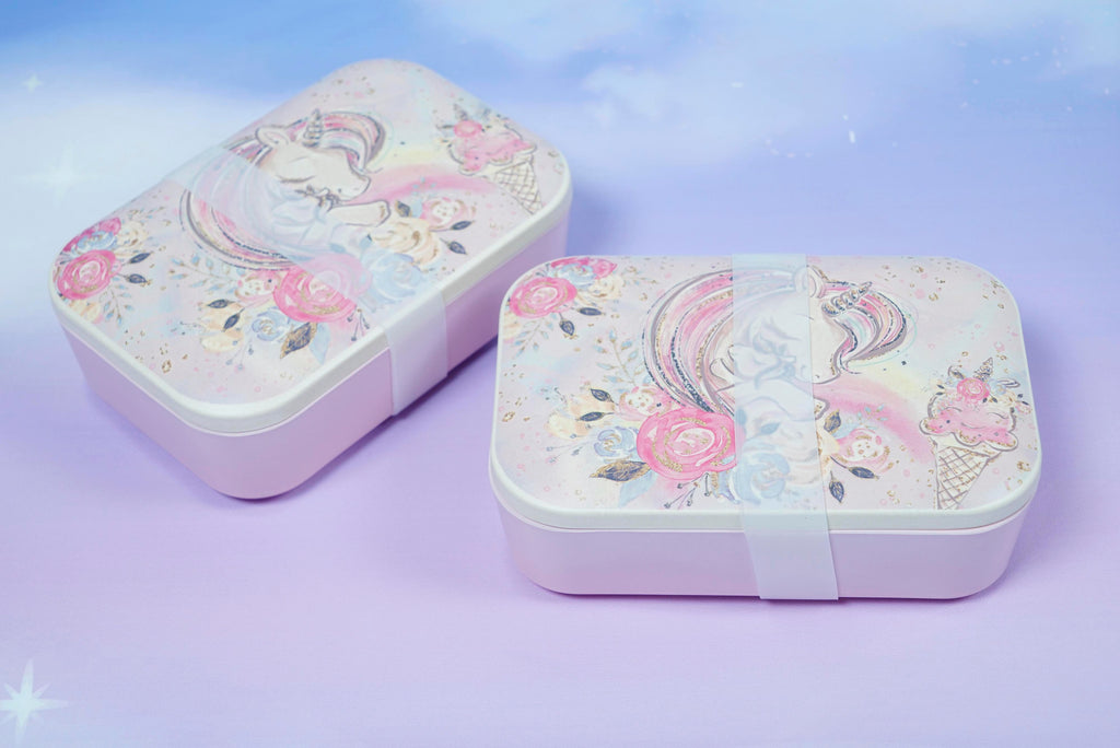 Bamboo lunch box / unicorn