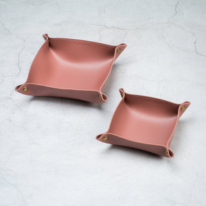 Leather tray - NUDE