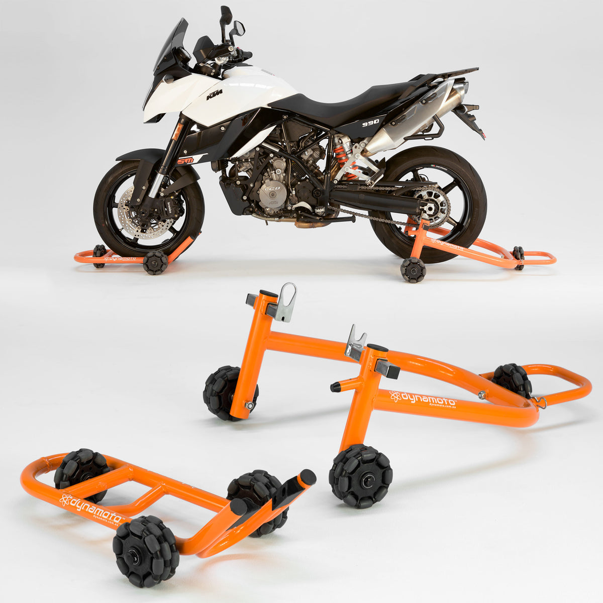 STAND SET:<br> FRONT STAND + REAR STAND<br> FOR DOUBLE-SIDED SWINGARM BIKES
