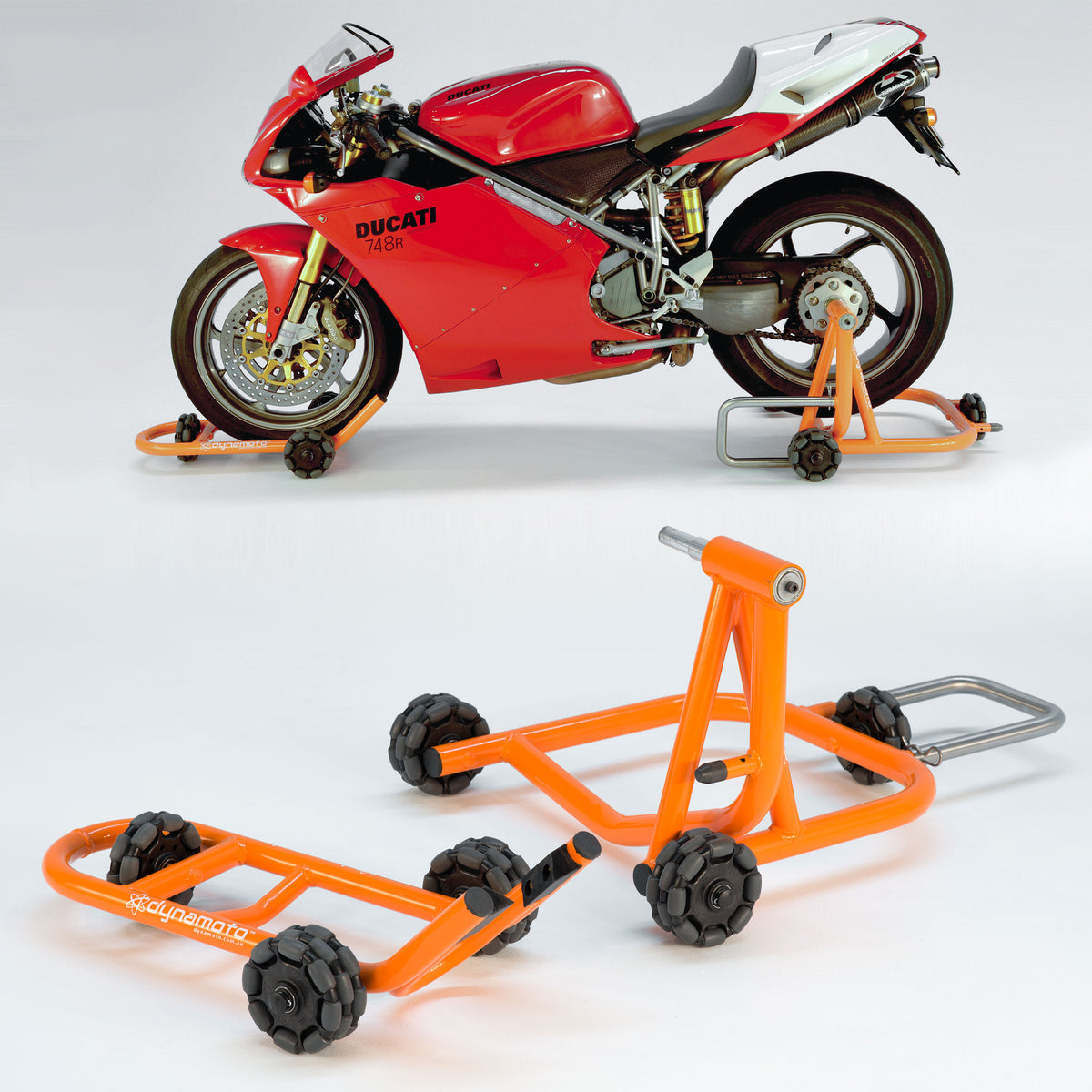 STAND SET:<br> FRONT STAND + REAR STAND<br> FOR SINGLE-SIDED SWINGARM BIKES