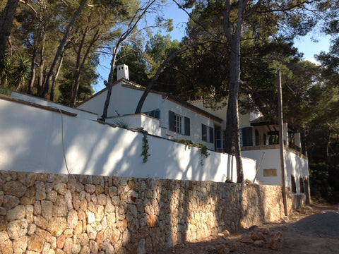 View of the casa with newly built stone wall
