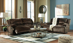 Clonmel Chocolate Reclining Sofa and Reclining Loveseat